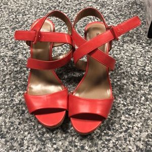 Women's coral colored wedges